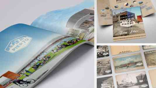 Collage of contemporary photographs and old illustrations of Pier 70.