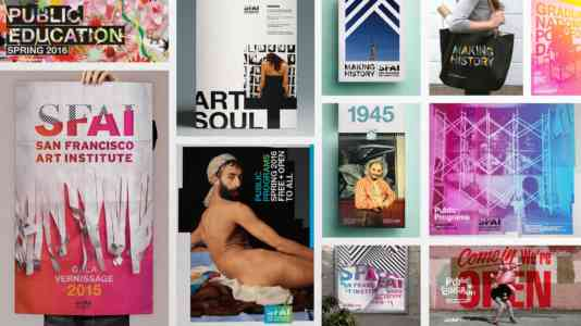 Collage of various artworks created by SFAI students.