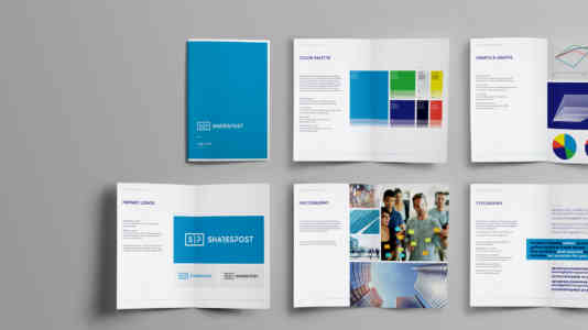 Brand guidelines for Gershoni Creative's rebrand of SharesPost.