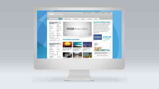 Mock-up of a computer opened to the landing page for the BBC Motion Gallery.