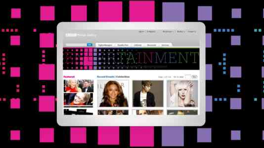 Mock-up of a tablet opened to the Entertainment section of the BBC Motion Gallery.