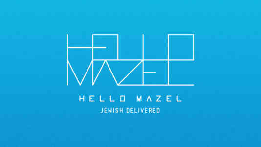 """Hello Mazel logo. It is a geometric, white design on a blue background. At the bottom, it reads """"Jewish Delivered."""""""