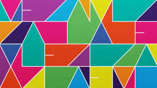 Hello Mazel logo. It is a geometric design in green, blue, red, purple, and pink.