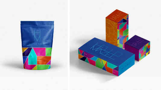 Four package designs for the Hello Mazel visual identity project.