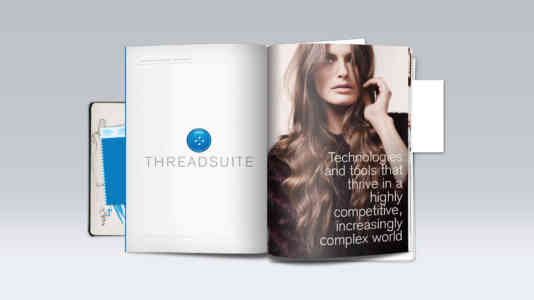 Threadsuite booklet. There is a photo of a brunette woman.