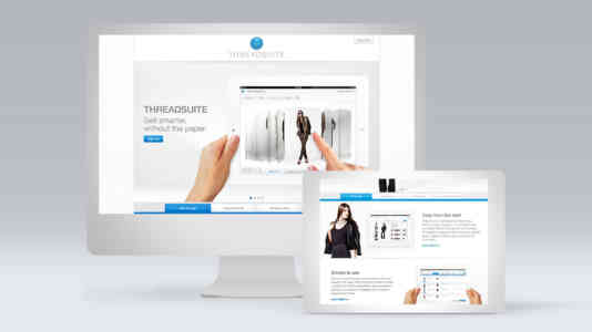 """Mock-up of a computer and a tablet opened to the Threadsuite website. The landing page reads, """"Sell smarter, without the paper."""""""