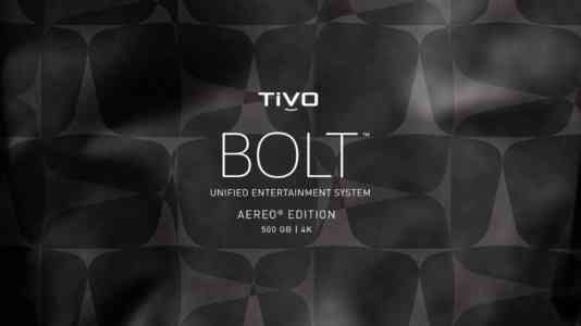 TiVo Bolt logo superimposed over a background of grey, abstract shapes.
