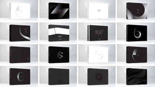 16 design options for TiVo Bolt packaging.