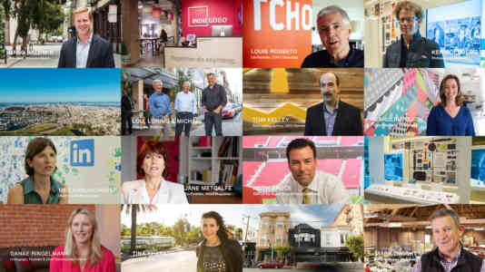 Photo collage of industry leaders, including the co-founder of TCHO Chocolate and the co-founder of WIRED Magazine.