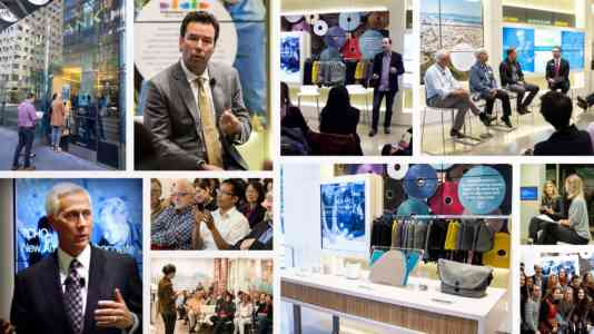 Photo collage of people attending a conversation series hosted at Umpqua Bank.