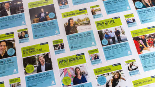 Flyers for a series of conversations on the future of work, volunteering, and more, presented by Umpqua Bank.
