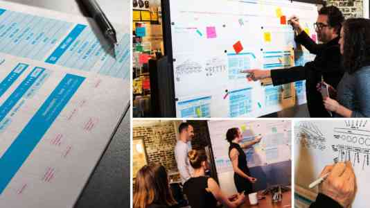 Photo collage of Gershoni Creative employees planning out the Women's Media Center website.