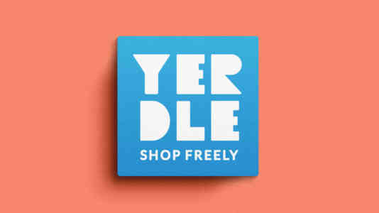 Yerdle logo. It is a blue box on a salmon background.