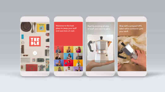 Mock-up of 4 cellphones opened to the Yerdle app. The images instruct how to sell on Yerdle.